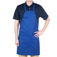 Choice Royal Blue Full Length Bib Apron with Pockets - 34 inchL x 30 inchW