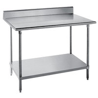 Advance Tabco KSS-242 24 inch x 24 inch 14 Gauge Work Table with Stainless Steel Undershelf and 5 inch Backsplash