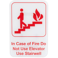 In Case Of A Fire Do Not Use Elevator, Use Stairwell Sign - Red and White, 9 inch x 6 inch