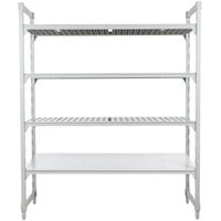 Cambro CPU214884VS4PKG Camshelving® Premium Stationary Starter Unit with 3 Vented Shelves and 1 Solid Shelf - 21 inch x 48 inch x 84 inch