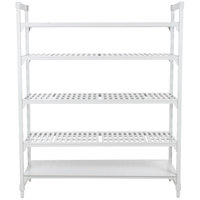 Cambro Camshelving Premium CPU246084VS5PKG480 Stationary Starter Unit with 4 Vented Shelves and 1 Solid Shelf - 24 inch x 60 inch x 84 inch