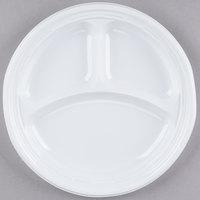 """Dart Solo 9CPWF 9"""" White 3 Compartment Famous Service Impact Plastic Plate - 500/Case"""