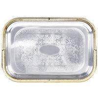 Vollrath 47260 Odyssey 18 1/4 inch x 12 1/4 inch Rectangular Gold Trim Metal Catering Tray