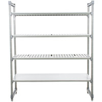 Cambro ESU246084VS4580 Camshelving® Elements Stationary Starter Unit with 3 Vented Shelves and 1 Solid Shelf - 24 inch x 60 inch x 84 inch