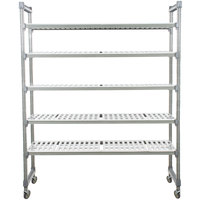Cambro EMU246070V5580 Camshelving® Elements Mobile Shelving Unit with 5 Vented Shelves - 24 inch x 60 inch x 70 inch