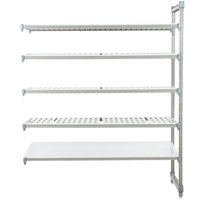 Cambro Camshelving Elements EA244284VS5580 Stationary Add-On Shelving Unit with 4 Vented Shelves and 1 Solid Shelf - 24 inch x 42 inch x 84 inch