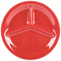GET CP-10-RSP Red Sensation 10 1/4 inch 3 Compartment Melamine Plate - 12/Case