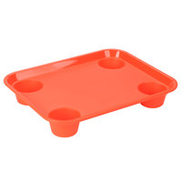 GET FT-20-OR 14 inch x 17 inch Orange Plastic Fast Food Tray with Cup Holders   - 12/Case