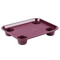 GET FT-20-BU 14 inch x 17 inch Burgundy Plastic Fast Food Tray with Cup Holders - 12/Case