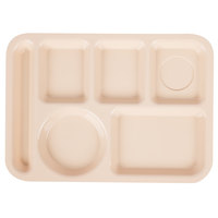 GET TL-153-T 10 inch x 14 inch Tan Left Handed 6 Compartment Plastic Tray - 12/Case