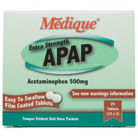 Medique 17564 Extra Strength APAP Acetaminophen Tablets - 24/Box