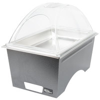 Sterno Products Full Size Silver Vein Stackable Chafer with Clear Dome Cover and Full Size Pan