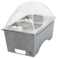 Sterno Silver Vein Stackable Chafer with Clear Dome Cover and 2 Half Size Pans