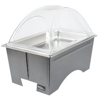 Sterno Products Full Size Silver Vein Fold Away Chafer with Clear Dome Cover and Full Size Pan