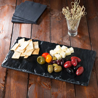 GET SB-1471-BK Madison Avenue / Granville 14 inch x 7 inch Melamine Faux Slate Display Board with Semi-Gloss Finish