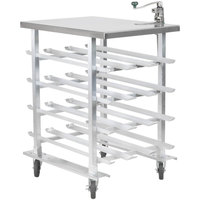 Regency CANSTN72 Half Size Mobile Aluminum Can Rack for #10 and #5 Cans with Stainless Steel Top and Heavy Duty Can Opener
