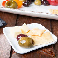 GET PP-44-W Osslo 4 inch White Square Melamine Plate with Raised Corner - 48/Case