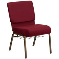 Flash Furniture FD-CH0221-4-GV-3169-BAS-GG Burgundy 21 inch Extra Wide Church Chair with Communion Cup Book Rack - Gold Vein Frame