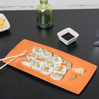 GET SZSP002O BambooServe 14 3/4 inch x 7 inch Bamboo Orange Sushi Plate   - 12/Case