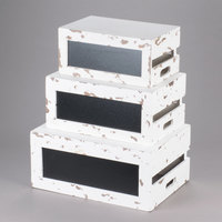 Tablecraft RCBCRATE2 3-Piece Distressed Wood Chalkboard Crate Riser Set