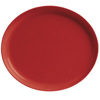 GET SZIP002R BambooServe 9 1/2 inch x 8 1/4 inch Oval Bamboo Red Incline Plate - 12/Case