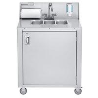 Crown Verity CV-PHS-3C Triple Bowl Cold Water Portable Hand Sink Cart