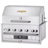Crown Verity BI-30PKG Liquid Propane 30 inch Stainless Steel Built In Outdoor BBQ Grill / Charbroiler with Roll Dome Package