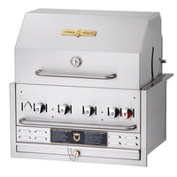 Crown Verity BI-30PKG Natural Gas 30 inch Stainless Steel Built In Outdoor BBQ Grill / Charbroiler with Roll Dome Package