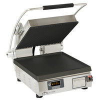 Star PGT28-IEGT Pro-Max Single 28 inch Panini Grill with Grooved Top and Smooth Bottom Cast Iron Plates - Electronic Controls