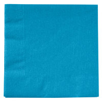 Creative Converting 803131B Turquoise Blue 2-Ply Beverage Napkin - 50/Pack