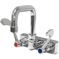 Advance Tabco K-206 6 inch Wall Mounted Extended Spout Swivel Faucet with 4 inch Centers and Wrist Handles
