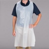 Choice 46 inch x 28 inch Disposable Heavy Weight White Poly Apron - 50/Box