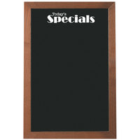 Aarco OBKGB3624S 36 inch x 24 inch Black Glass Menu Board with Walnut Stained Solid Oak Wood Frame and Today's Specials Decal