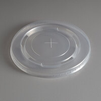 Choice 32 oz. Translucent Cold Cup Flat Lid with Straw Slot   - 100/Pack