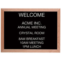 Aarco 18 inch x 24 inch Black Felt Open Face Horizontal Indoor Message Board with Solid Oak Wood Frame and 3/4 inch Letters