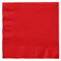 Creative Converting 661031B Classic Red 2-Ply 1/4 Fold Luncheon Napkin - 50 / Pack