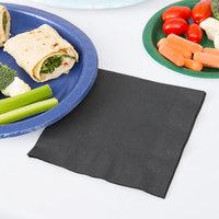 Creative Converting 139194135 Black Velvet 2-Ply 1/4 Fold Luncheon Napkin - 50/Pack