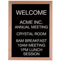 Aarco 24 inch x 18 inch Black Felt Open Face Vertical Indoor Message Board with Solid Oak Wood Frame and 3/4 inch Letters