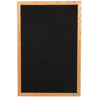 Aarco AOFD3624L 36 inch x 24 inch Black Felt Open Face Vertical Indoor Message Board with Solid Oak Wood Frame and 3/4 inch Letters