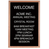 Aarco 36 inch x 24 inch Black Felt Open Face Vertical Indoor Message Board with Solid Oak Wood Frame and 3/4 inch Letters