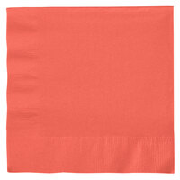 Creative Converting 663146B Coral 2-Ply 1/4 Fold Luncheon Napkin - 50 / Pack