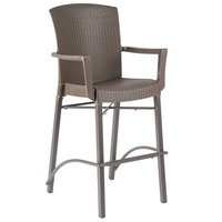 Grosfillex 48260037 Havana Espresso Aluminum Indoor / Outdoor Bar Height Arm Chair with Synthetic Wicker Back and Seat