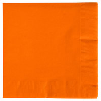 Creative Converting 57191B Sunkissed Orange 3-Ply Beverage Napkin - 50/Pack