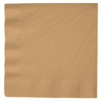 Creative Converting 593276B Glittering Gold 3-Ply Paper Dinner Napkin   - 25/Pack