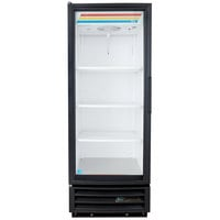 True GDM-12-HC-LD Black Glass Door Refrigerated Merchandiser with LED Lighting and Left Hinged Door