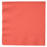 Creative Converting 593146B Coral Orange 3-Ply Paper Dinner Napkin - 25/Pack