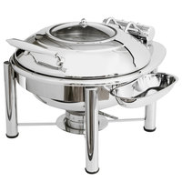 Eastern Tabletop 3939GPL Crown 4 Qt. Stainless Steel Round Induction / Traditional Chafer with Pillar'd Stand and Hinged Glass Dome Cover