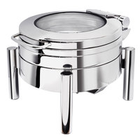 Eastern Tabletop 3979GS Jazz 4 Qt. Stainless Steel Round Induction / Traditional Chafer with Pillar'd Stand and Hinged Glass Dome Cover