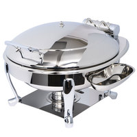Eastern Tabletop 3938S Crown 6 Qt. Stainless Steel Round Induction / Traditional Chafer with Freedom Stand and Hinged Dome Cover