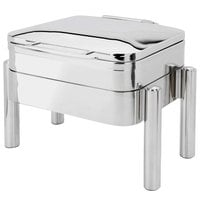 Eastern Tabletop 3977S Jazz Swing 4 Qt. Stainless Steel Square Induction / Traditional Chafer with Pillar'd Stand and Hinged Dome Cover